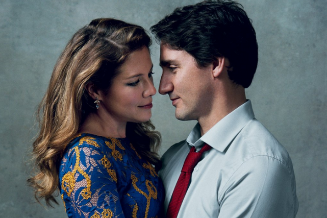 Justin Trudeau et Sophie Grégoire photographiés dans le... (PHOTO NORMAN JEAN ROY, VOGUE)