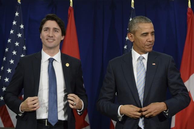 Le premier ministre Justin Trudeau et le président... (Photo Sean Kilpatrick, PC)