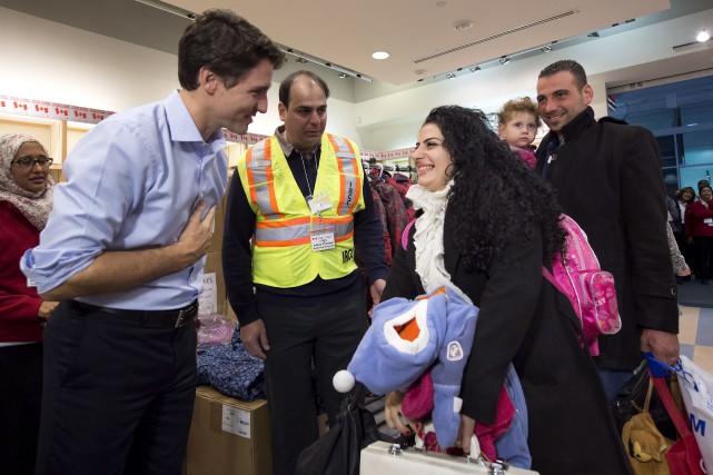 Le premier ministre Justin Trudeau a accueilli personnellement... (La Presse Canadienne, Nathan Denette)