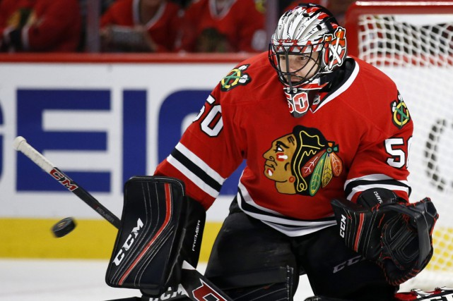 Le gardien des Blackhawks Corey Crawford n'a accordé qu'un... (Photo Andrew A. Nelles, archives Associated Press)