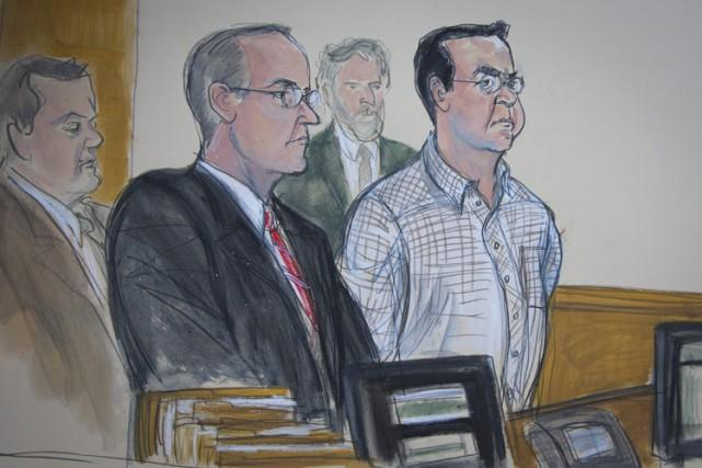 Rafael Callejas, à droite, est illustré dans ce...