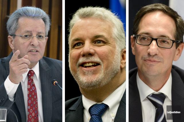 Jean Tremblay, Philippe Couillard et Stéphane Bédard ont... (Archives Le Quotidien)