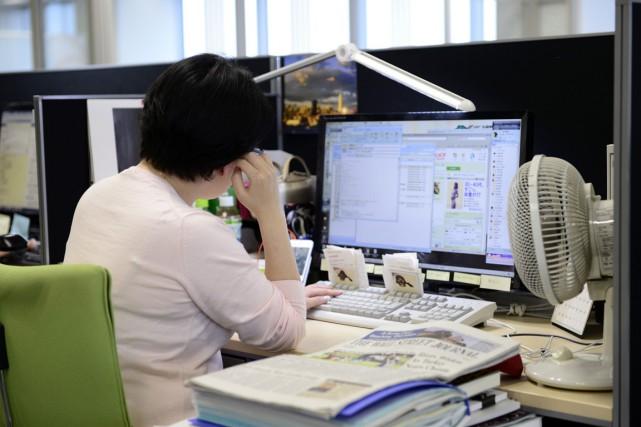 Une employée de Yahoo Japan.... (Photo archives Bloomberg)