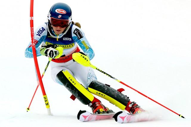 L'Américaine MikaelaShiffrin, lauréate des trois dernières Coupes du... (AP, Charles Krupa)