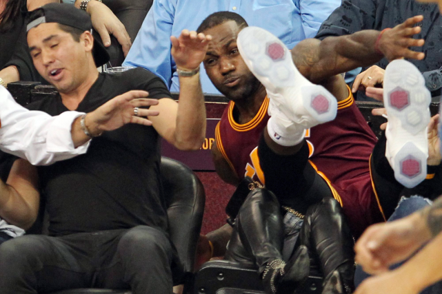 LeBron James a renversé Ellie Day, qui était assise... (Photo John Kuntz, AP)