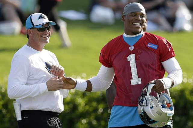 Coordonnateur offensif des Panthers de la Caroline, menés... (Associated Press)