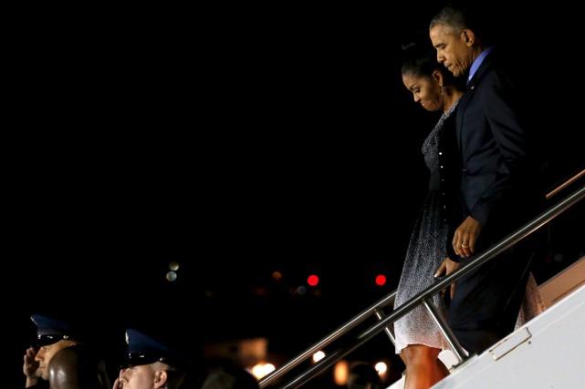 BarackObama, son épouse Michelleet leurs deux filles sont... (PHOTO JONATHAN ERNST, REUTERS)