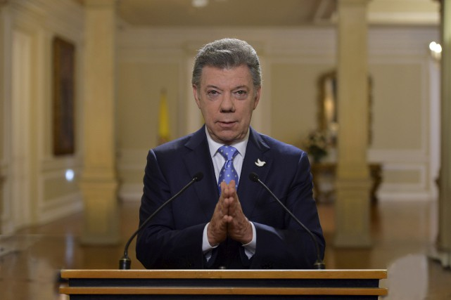 Le président colombien Juan Manuel Santos... (Photo Cesar Carrion, AFP/Gouvernement colombien)
