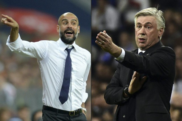 Pep Guardiola et Carlos Ancelotti... (PHOTOS ARCHIVES AGENCE FRANCE-PRESSE)