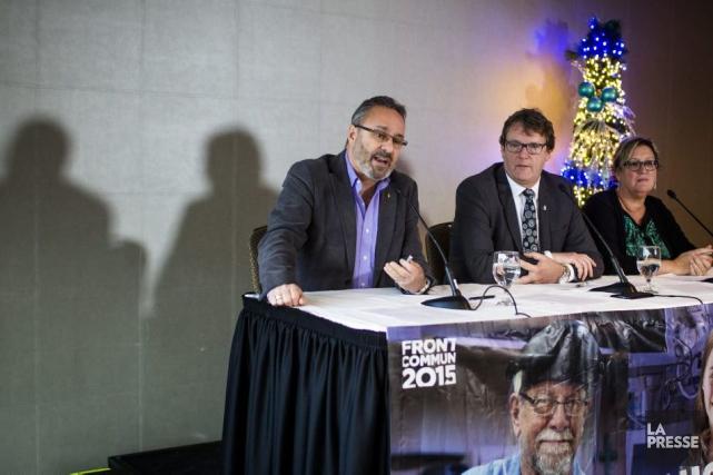 Les présidents de la FTQ, Daniel Boyer,de la... (Olivier Pontbriand, La Presse)