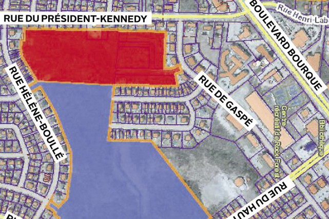Le projet permettra le développement d'une zone située... (Plan fourni par la Ville de Sherbrooke)