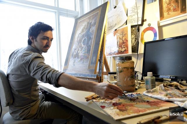 L'artiste Félix Girard signe, entre autres, des toiles,... (Le Soleil, Patrice Laroche)