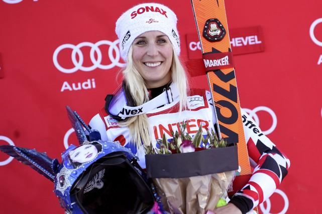 L'Autrichienne Eva-Maria Brema célébré une deuxième victoire en... (AP, Pier Marco Tacca)