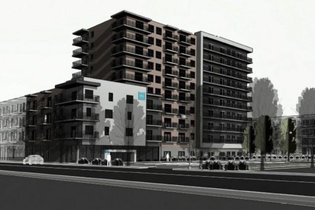 Un immeuble de 10 étages pourrait être construit... (illustration fournie par la Ville de Granby)