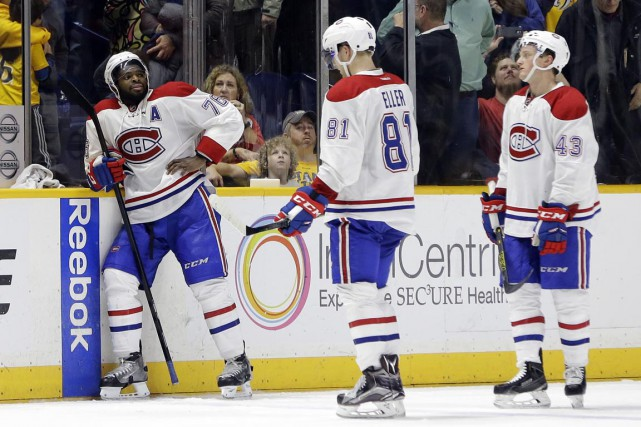 Les joueurs du Canadien avaient la mine bien... (Associated Press)