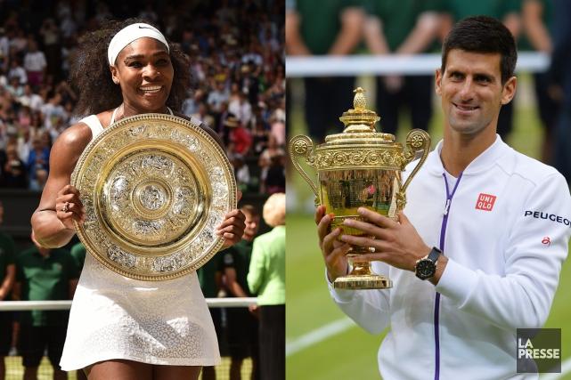 Serena Williams et Novak Djokovic ont tous deux... (Photos AFP)