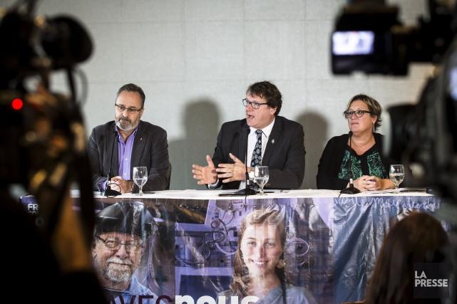 Les porte-paroles du Front commun:Daniel Boyer (FTQ),Jacques Létourneau... (La Presse, Olivier Pontbriand)
