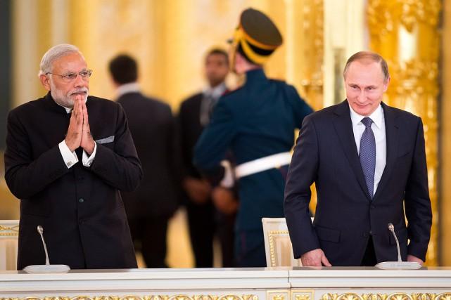 Le premier ministre indien Narendra Modi a été... (Photo Pavel Golovkin, AP)