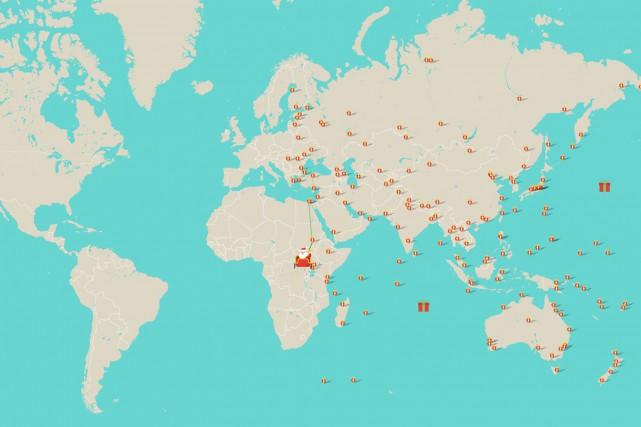 Au moment où Le Soleil a visité le... (Tirée du site Web santatracker.google.com)