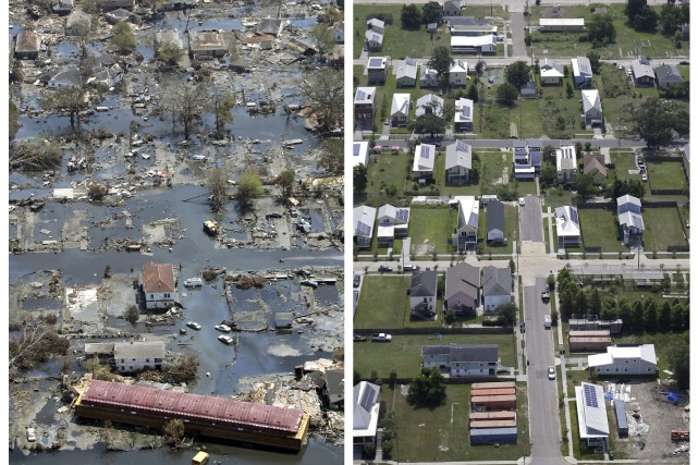 Ce quartier de La Nouvelle-Orléans, totalement dévasté par... (AP, David J. Phillip et Gerald Herbert)