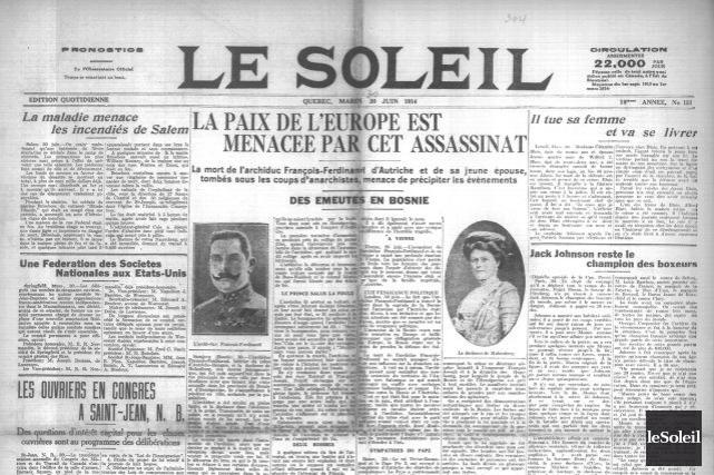 La Une du Soleil du 30 juin 1914... (Archives Le Soleil)