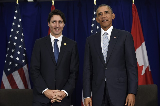 Justin Trudeau et Barack Obama lors de leur... (Photo archives AP)