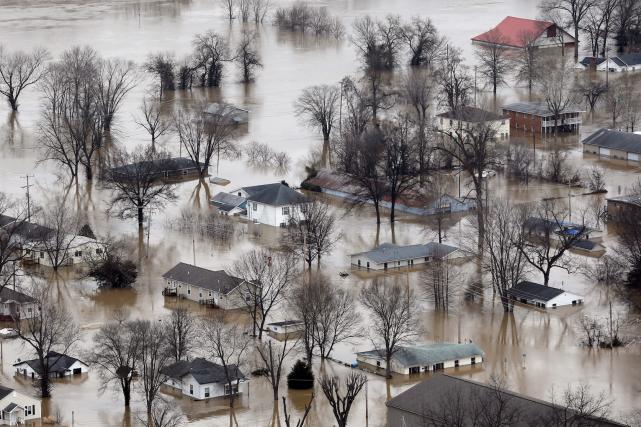 Photo aérienne du village de Pacific, au Missouri,... (AP, Jeff Roberson)