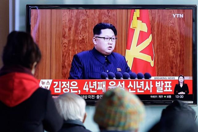La rhétorique belliqueuse habituelle du leader nord-coréen, Kim... (Photo Ahn Young-joon, AP)