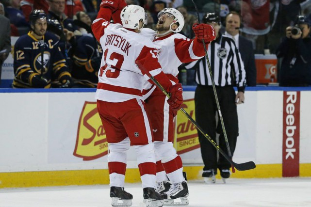 Pavel Datsyuk et Tomas Tatar... (Photo Kevin Hoffman, USA TODAY Sports)