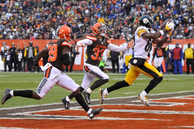 Le receveur Antonio Brown a capté 13 passes... (AP, David Richard)