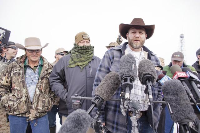 Ammon Bundy, leader de la milice antigouvernement s'adresse... (Agence France-Presse)