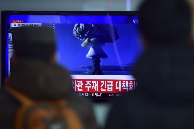 La Corée du Nord prétend avoir testé avec succès mercredi une puissante bombe à... (Agence France-Presse)