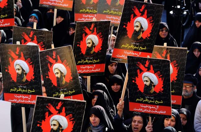 Manifestation contre l'exécution du leader religieuxNimr Baqer al-Nimr,... (PHOTOATTA KENARE, AGENCE FRANCE-PRESSE)