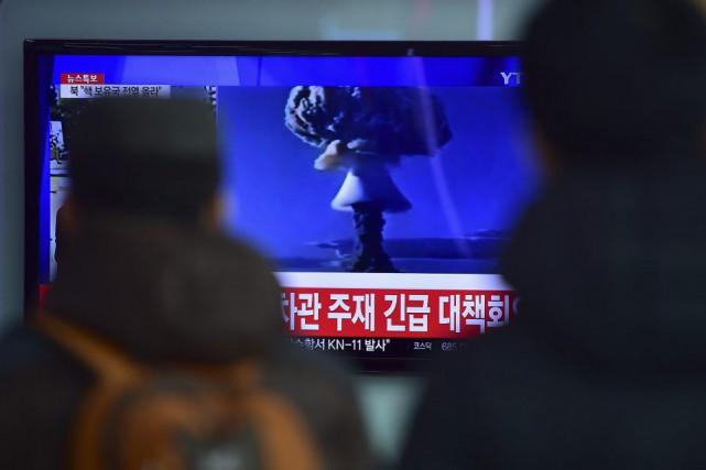 Le récent test allégué d'une bombe hydrogène par... (PHOTO JUNG YEON-JE, AFP)