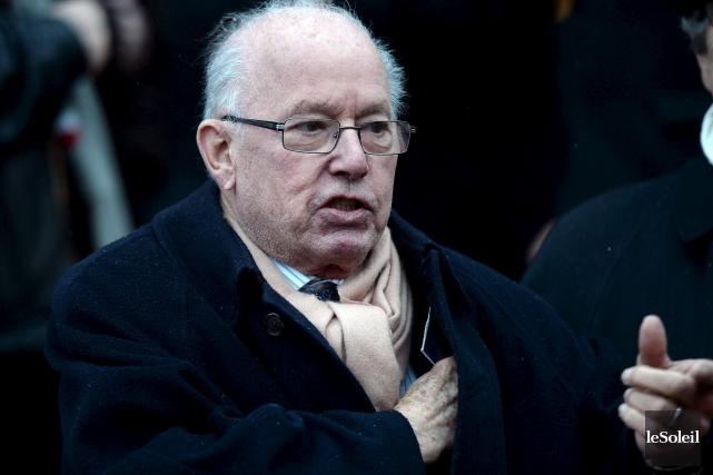 L'ancien premier ministre Bernard Landry, lors des funérailles... (Le Soleil, Erick Labbé)