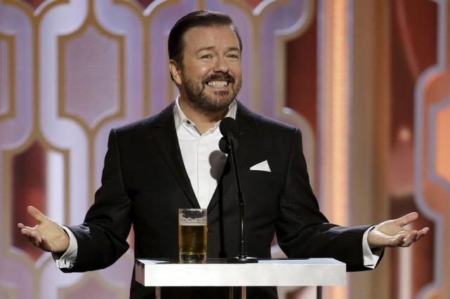 Ricky Gervais était à nouveau à la barre... (Associated Press)