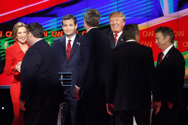 Carly Fiorina, Rand Paul et Donald Trump au débat à... (Photo John Locher, Archives AP)