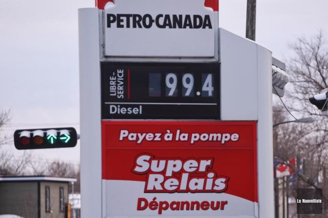L'essence sousla barre du 1 $ (François Gervais, Le Nouvelliste)