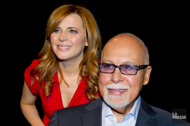 René Angélil avec Julie Snyder en 2012... (Archives La Presse)