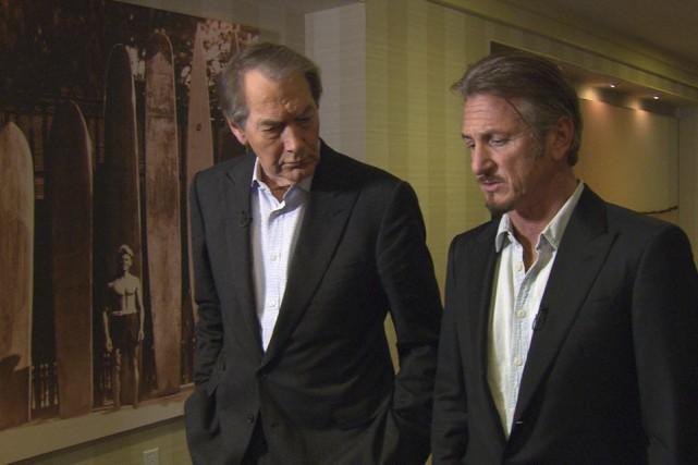 L'animateur Charlie Rose et Sean Penn en marge... (Fournie par CBS)