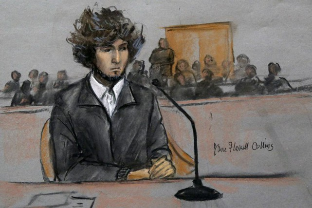 Dzhokhar Tsarnaev, tel qu'esquissé lors de son procès.... (Photo Jane Flavell Collins, AP)