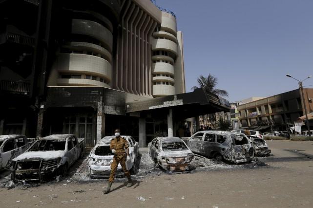 Le lieu de l'attentat d'Ouagadougou, au Burkina Faso,... (AP)
