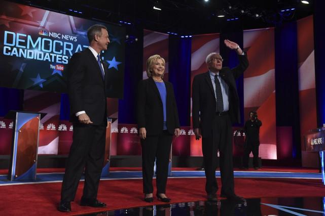 Martin O'Malley, Hillary Clinton et Bernie Sanders à... (Agence France-Presse)