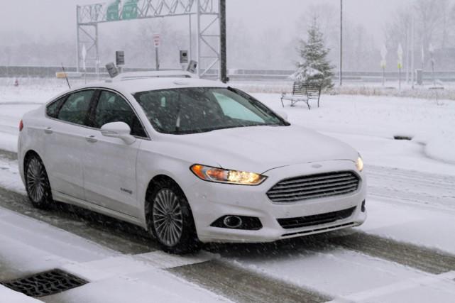Selon Ford, ses voitures autonomes se débrouillent bien dans 4 ou 5cm de neige... (Photo fournie par Ford)