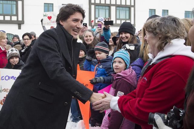 Le premier ministre Justin Trudeau a été accueilli... (La Presse Canadienne, Andrew Vaughan)