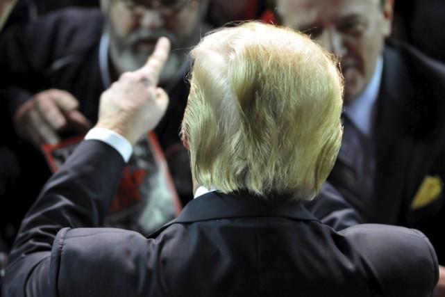 Donald Trump lors d'un rallye mercredi à l'Université... (PHOTO REUTERS)