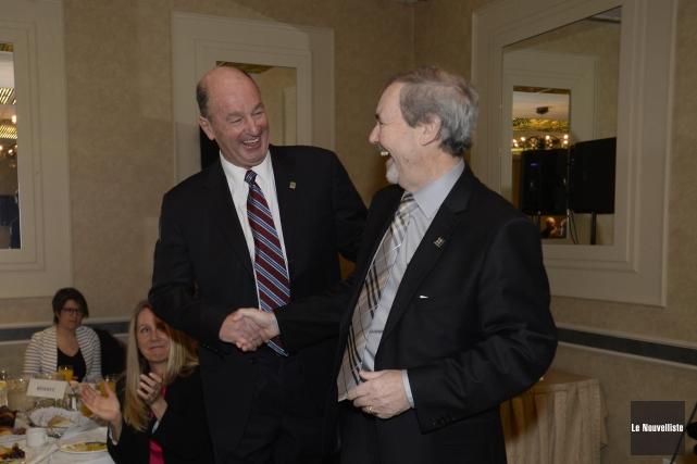 Les maires de Trois-Rivières Yves Lévesque, et de... (Photo: Sylvain Mayer Le Nouvelliste)