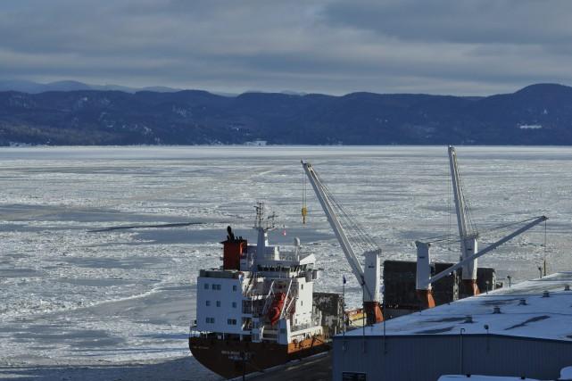 Le premier navire océanique de l'année 2016 au Port de Saguenay a accosté au... (Photo courtoisie)