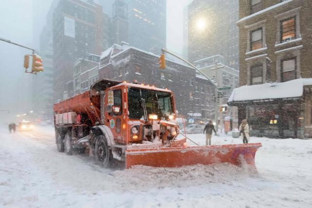 À New York, Central Park a été recouvert... (AFP, François Xavier Marit)