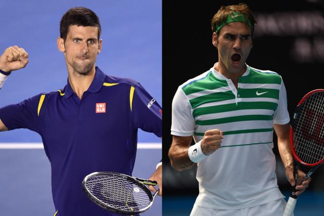 Novak Djokovic et Roger Federer ont serviune clinique... (Photos AFP)